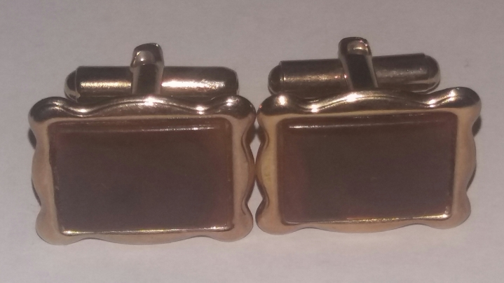 219182 Vintage Cufflinks 1960s Brown Goldtone Picture-Frame Cuff Links