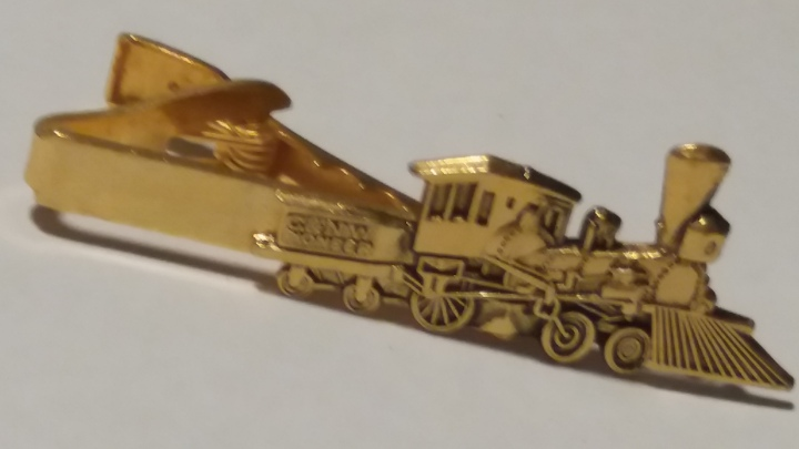 229106 Vintage Tie Clasp 1950s Train Steam Engine Locomotive Chicago Tie Clip Bar