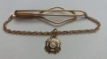 229192 Vintage Tie Clasp with Chain 1930s VFW Veterans Of Foreign Wars US Tie Clip Bar