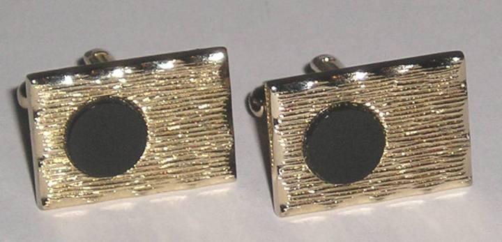 vintage dante cuff links silvertone black