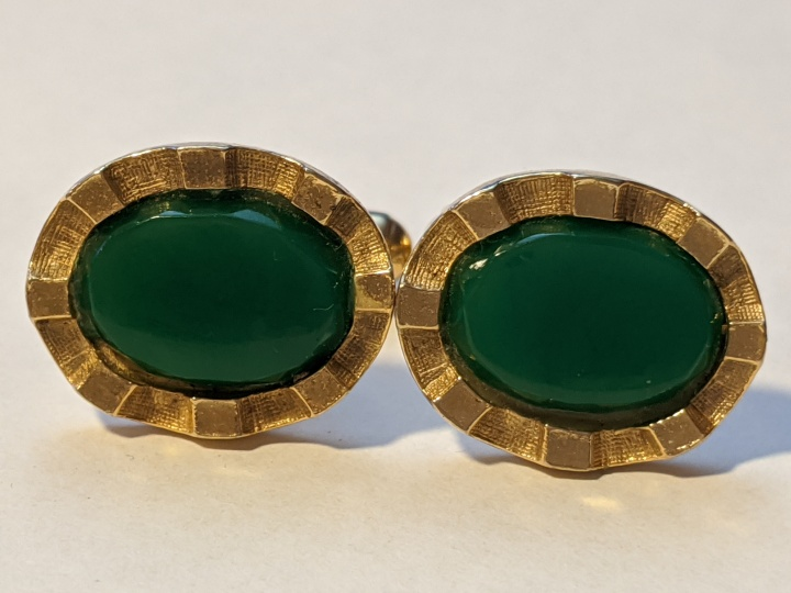 219203 Vintage Cufflinks 1940s Green Goldtone Extraordinary Cuff Links