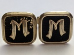 219209 Vintage Cufflinks 1930s Art Deco Monogram Initial M GoldBlack Cuff Links