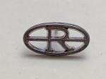 239205 Vintage Tie Pin 1940s Initial R Monogram Handsome Silvertone Tie Tack