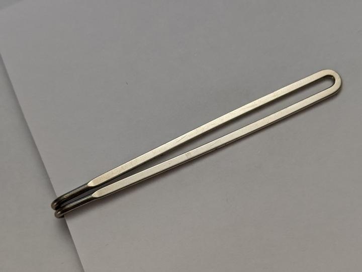 229216 Vintage Tie Clasp 1930s Slide-On Silvertone Tie Clip Bar